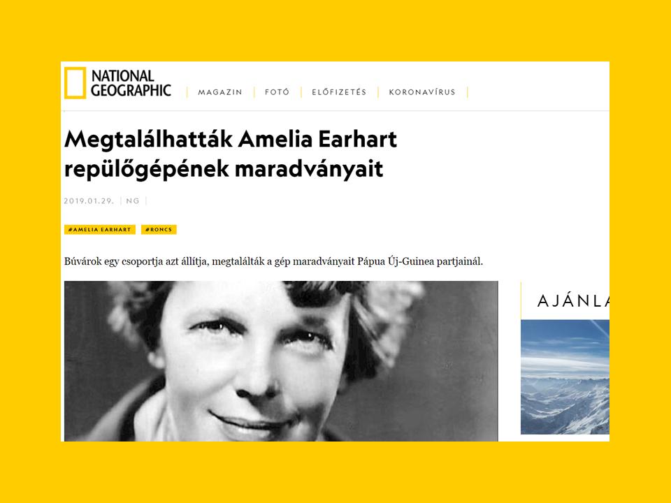 A National Geographic Society Különleges Arany Medál-díjat kapott Amelia Earthartról szóló cikk az ng.hu-n
